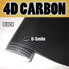 Black 4D Carbon Fiber Vinyl Car Bubble Free For Auto Body Vinyl Wrapping Size:1.52M x 30M/Roll (5ft x 98ft)