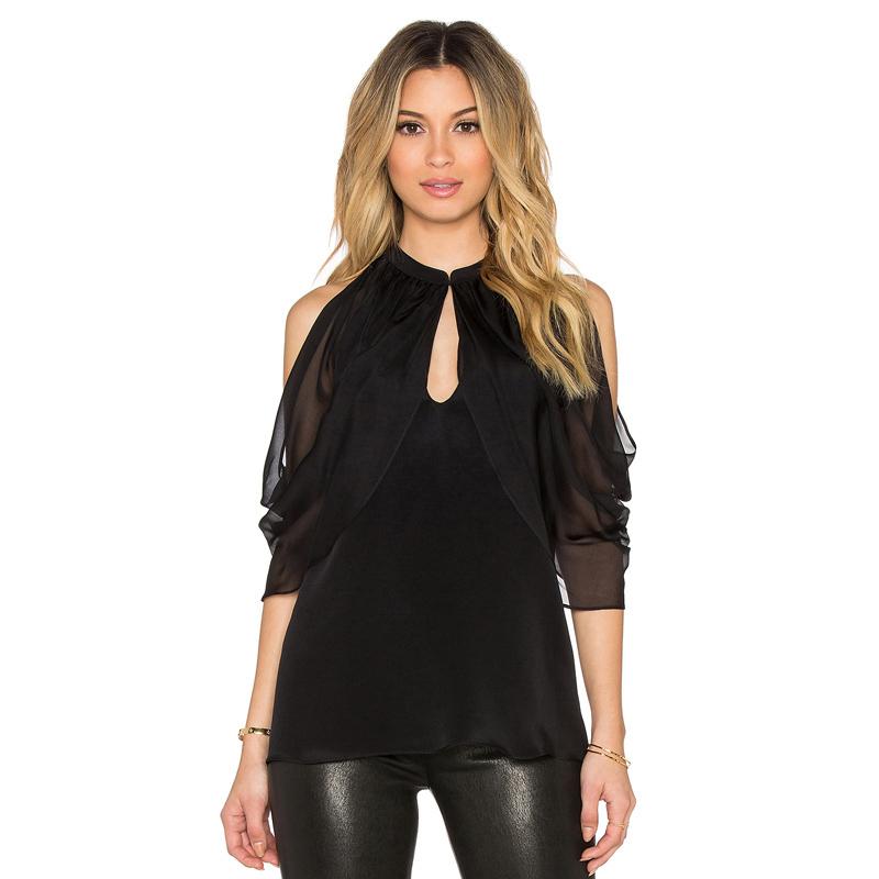 Women Summer Fashion Off Shouler Batwing Blouse Black Chiffon Blouses Shirts Plus Size Ladies Stand Collar Top Camisa Feminina(China (Mainland))
