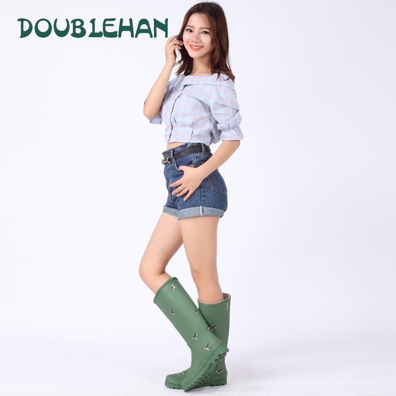 New Women Knee High Rubber Wader Rain Boots Waterproof