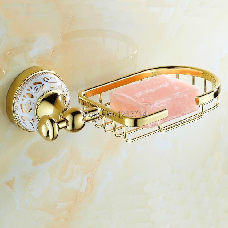 2015 Bathroom gold porcelain accessories Soap dish golden soap basket holder bathroom hardware set HJ-1903K