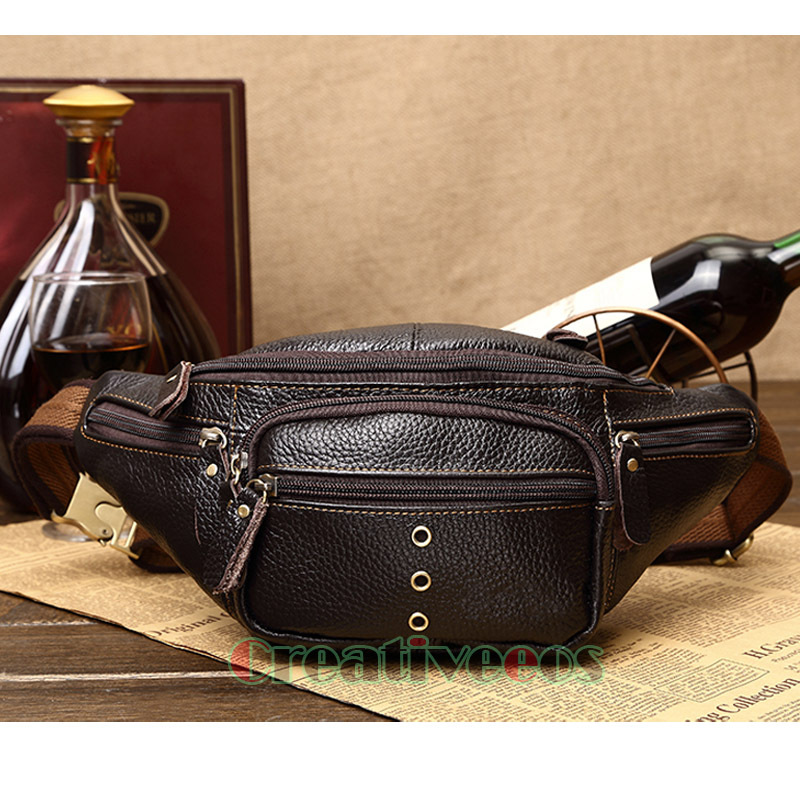 Men Genuine Leather Casual Travel Riding Motorcylce Messenger Shoulder Sling Chest Hip Bum Belt Fanny Pack Waist Bag(China (Mainland))