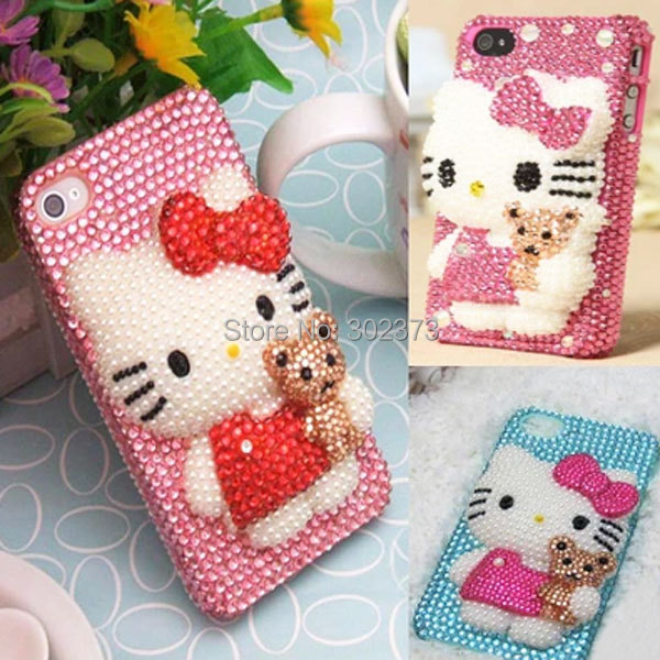 "New Arrival 3D Cute Hello Kitty For iphone 6 4.7"" Case Luxury Diamond Bling Case For Apple Iphone 6 6S 6G Cover Free Shipping(China (Mainland))"