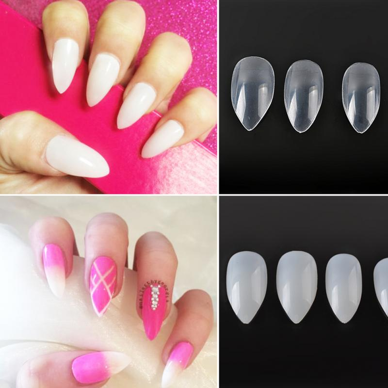 Wholesale Nail Art Clear/Natural Full Cover Oval Sharp End Stiletto ...