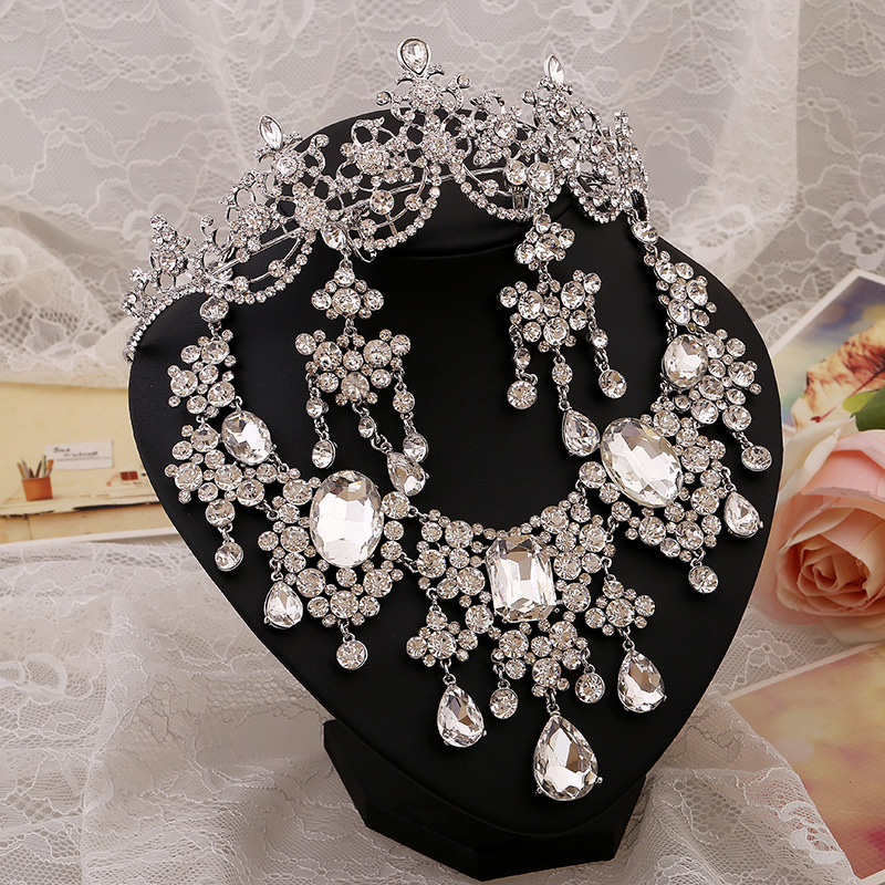 Grogeous Large European Rhinestones Crystal Bridal Tiara Necklace Earring Set Wedding Party Choker Jewelry sets  -  Blue SKY Jewelry store