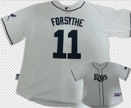 Costurado Mens desconto de raios brancos legal base de Baseball Jerseys # 11 barato Logan Forsythe Jersey(China (Mainland))