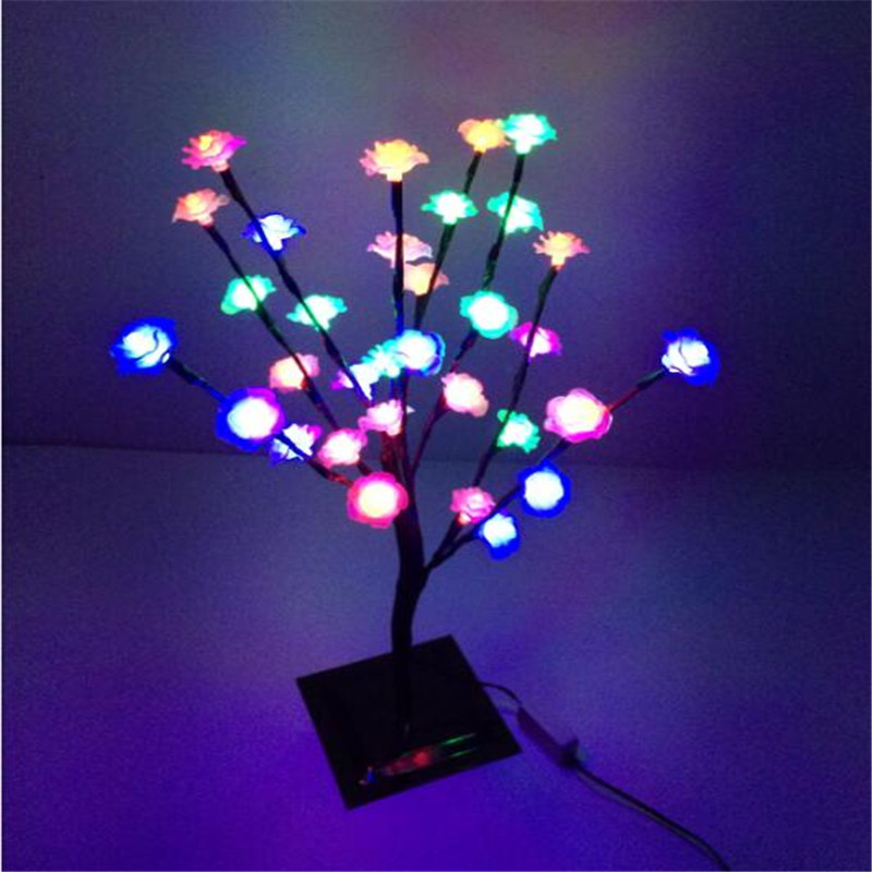 47 cm Height 32 LEDs Changeable Rose led cherry blossom Tree Light in christmas lights tree Holiday wedding decoration(China (Mainland))