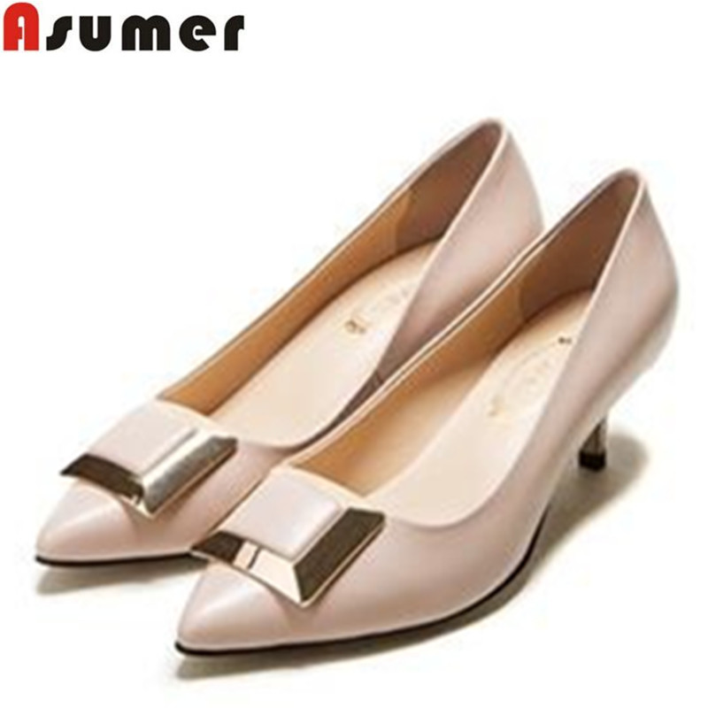 AISIMI size 34-39 dress shoes fashion sequined pointed toe med heels genuine leather high quality comfortable ladies pumps