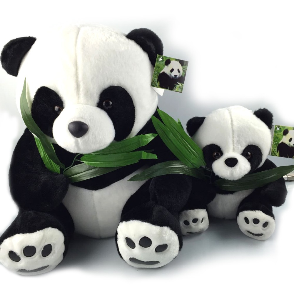 40CM Giant Panda Plush Toys Sit Eat Bamboo Panda Dolls Soft Stuffed Toy Gifts For Girls Kids Best Price High Quality NT030E(China (Mainland))