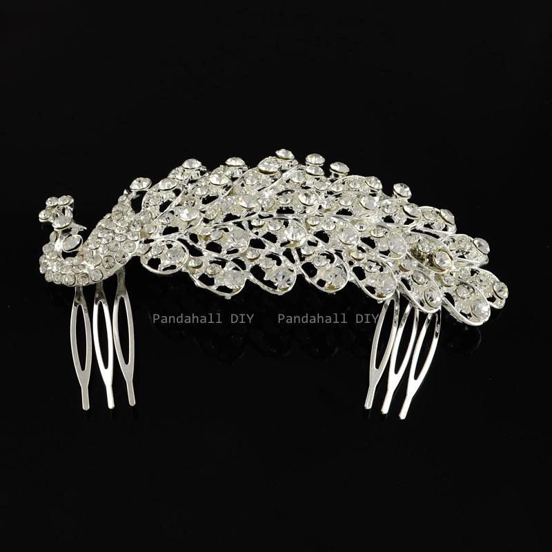 Hair Accessories Peacock Crystal Rhinestone Comb Bridal Wedding Women Jewelry Silver 65x115mm - PandaHall DIY store