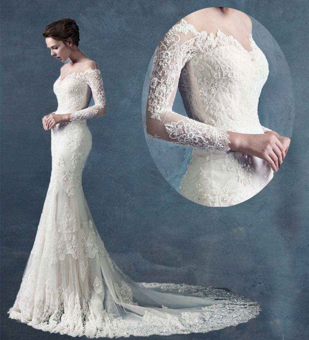 Mermaid Wedding Dresses With Sleeves: Long Sleeves Chapel Train Lace Mermaid Wedding Dress