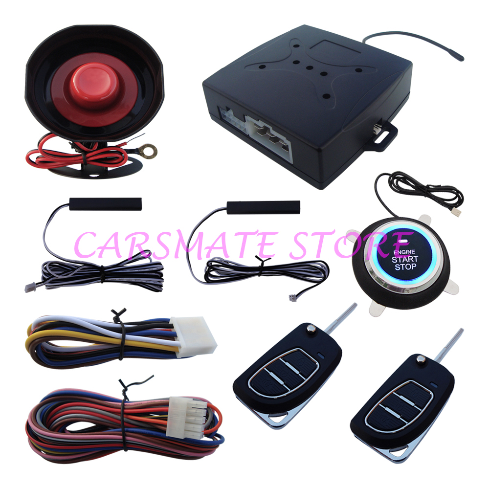 Stock In USA! PKE Car Alarm System With Passive Auto Lock & Unlock Car Door Keyless Go Push Button Start Stop,Remote Start Stop(China (Mainland))