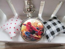 2015 new Marvel Super Heros Spiderman Necklace Pocket Watch Child Boy Watch Fashion 1pcs