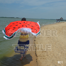 2017 New Summer Large Towel Polyester Fruit Watermelon Orange Round Beach Towels Tassel 3D Printing 150CM(China (Mainland))