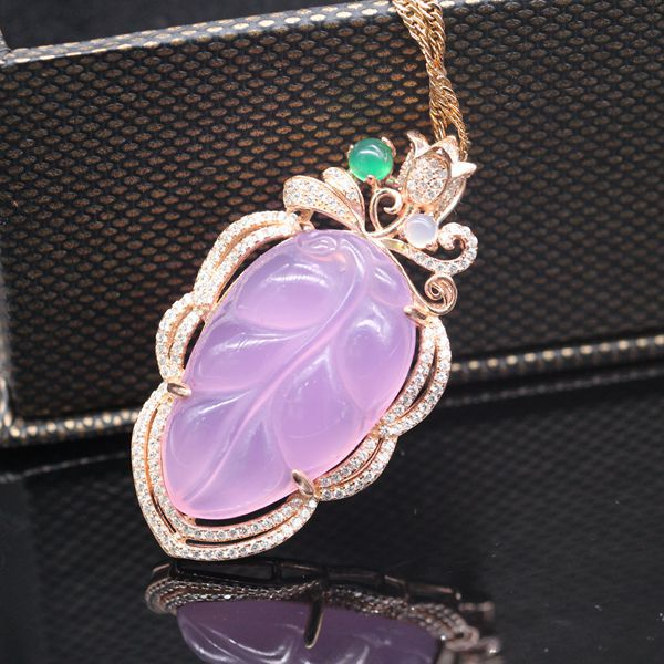 Classic Exquisite 925 Sterling Silver Leaf Pink Chalcedony Pendant Necklace<br><br>Aliexpress