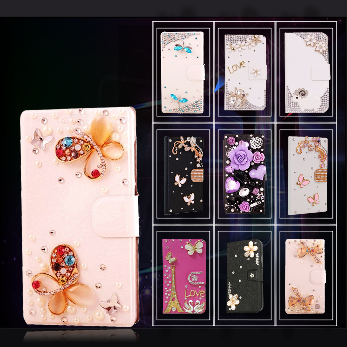 Fashion Flip wallet case for Samsung Galaxy Avant G386T bling glitter 3D crystal Tower panda dragonfly goat cover(China (Mainland))