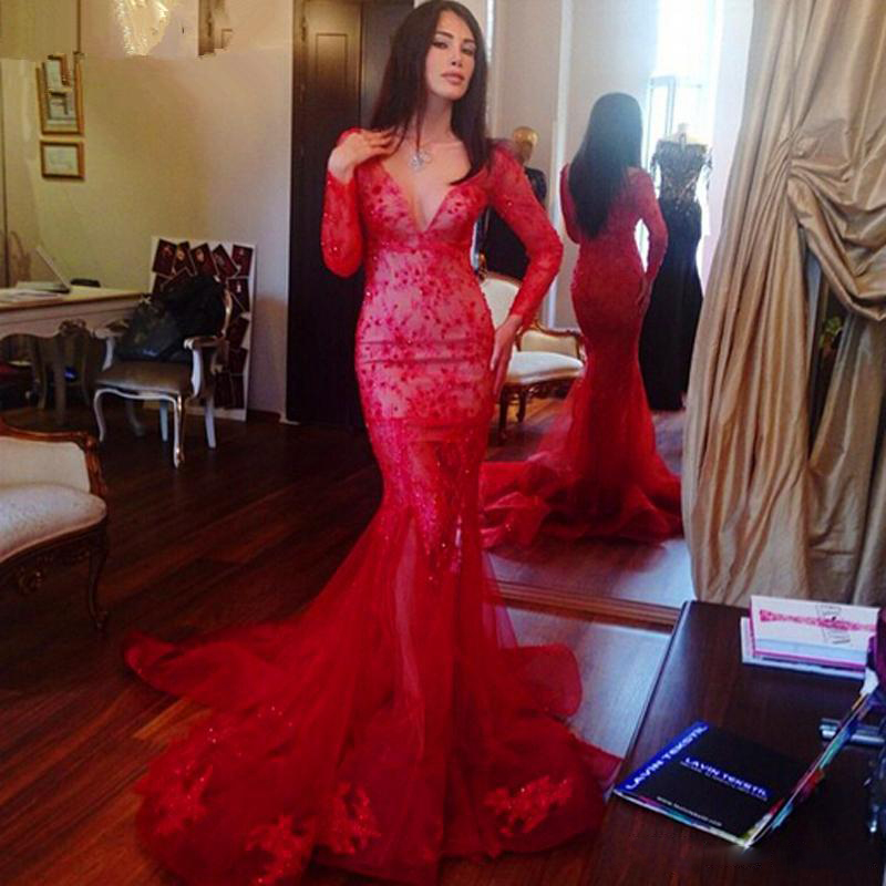 High Quality Long Sleeve Lace Prom Dresses Red-Buy Cheap Long ...