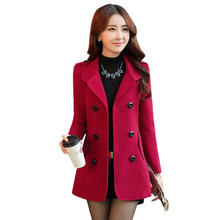 Winter Women Wool Coat 2016 Double-Breasted Button Lapel Pocket Multicolor Plus Size Long Sleeve Ladies Woolen Jacket Top211(China (Mainland))