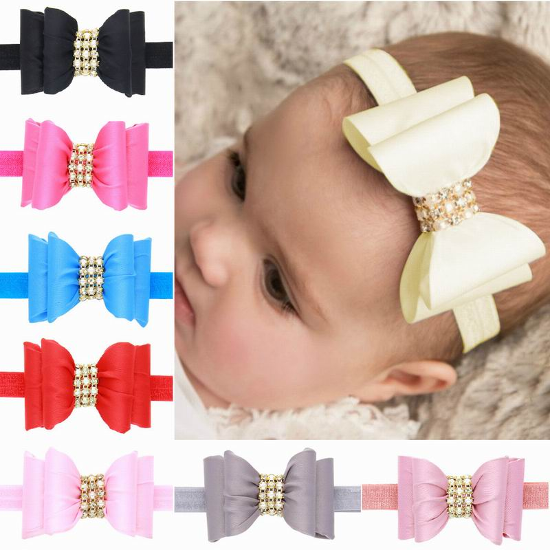 2016 Cute Kids Baby Headband Girl Toddler Gillter Bowknot Hair Band Chiffon Hair Accessories Solid Color Hair Bows Headwrap(China (Mainland))