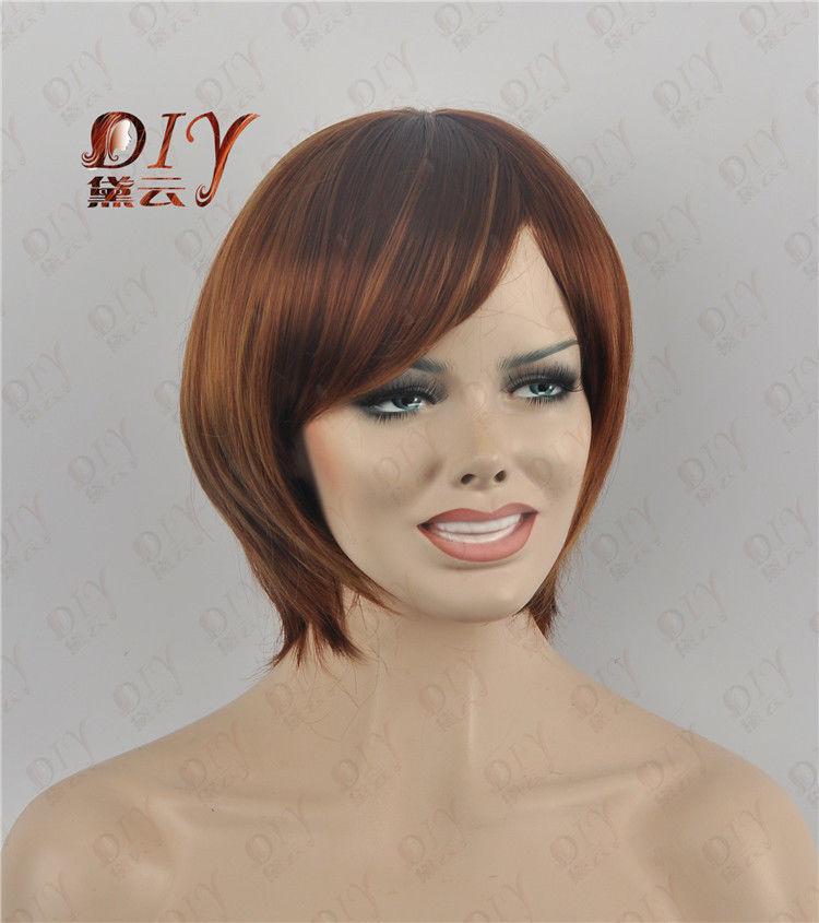 RH2814 fast shipping Women Brown Short Straight Wig<br><br>Aliexpress