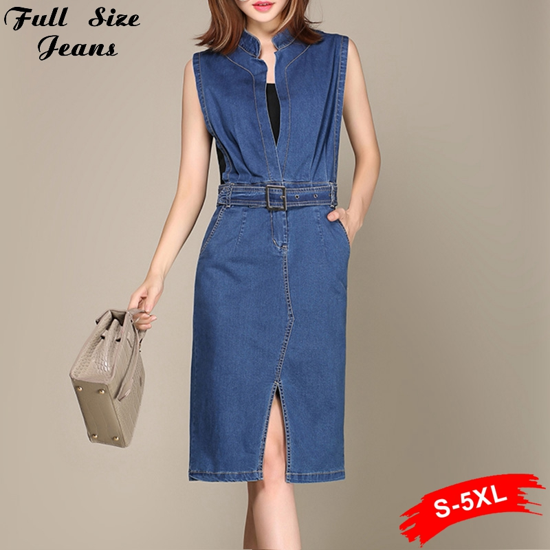 Summer Fall Plus Size Blue Denim Bodycon Dress 4XL 5xl S Sleeveless Deep-V Neck Sexy Slim Jeans Dress Ladies Sundress With Belt(China (Mainland))