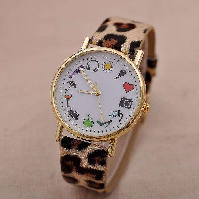 Luxury Leopard Watch 2015 Fashion Casual Cartoon Pattern Leather Quartz Watch Ladies Dress Wristwatch Relogio Feminino Clock Hot(China (Mainland))