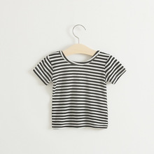 Baby Girls Summer T-Shirts Solid Black White Striped Casual Short Sleeves Tshirts Toddler Girls Tees Modal Backless Tops