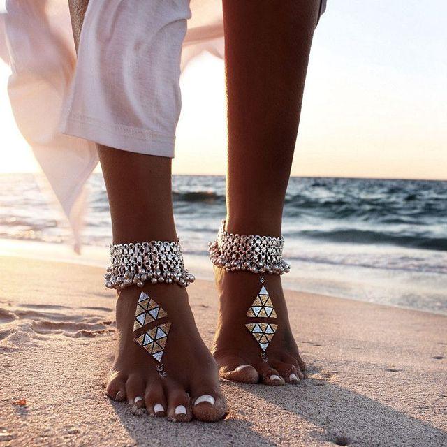 ( 1 шт. ) урожай ножной браслет для женщин кисточка колокол лодыжке браслет мода ...