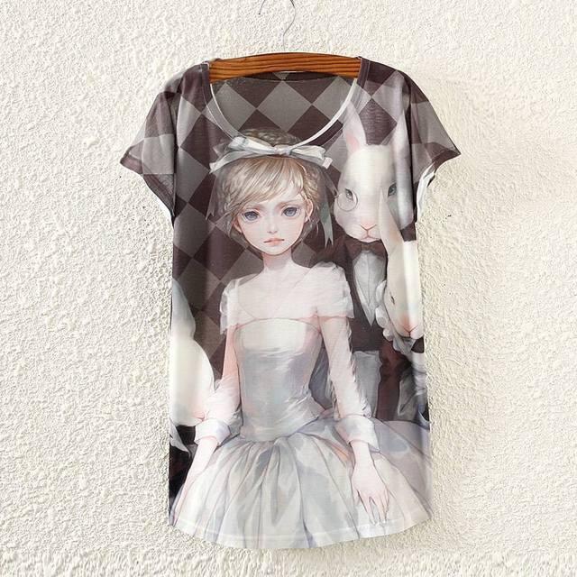 2015 новинка мода винтаж весна лето майка женская одежда топы Tshirt животных печать - женской одежды TPA5