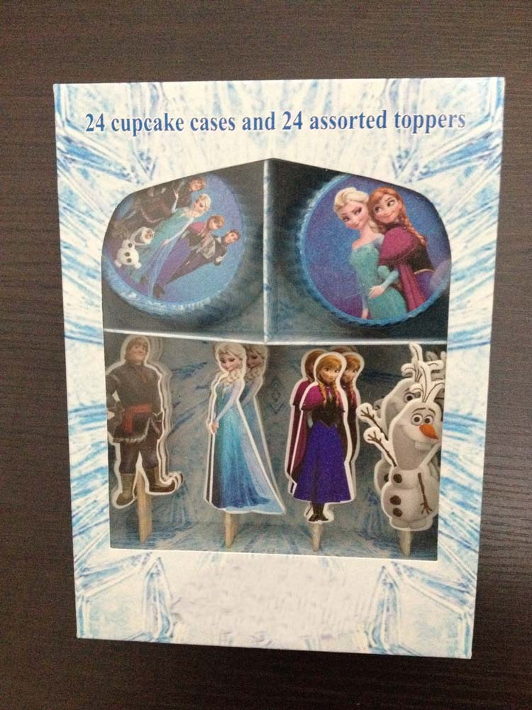48pcs Snow queen Elsa Anna Olaf Cupcake Wrappers paper & Toppers Picks Set,Kids Birthday Party Decoration,kids Party Supplies(China (Mainland))