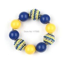 3Pcs Bright Yellow Royal Blue Beads Bubblegum Bracelet Little Girls Kids Despicable Me Minions Chunky Bracelet(China (Mainland))