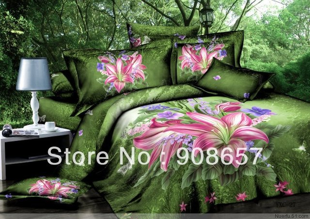 pink lily flower green 500TC cotton bed linen discount bedding set cheaper quilt/duvet covers 4pc for full/queen comforter quilt