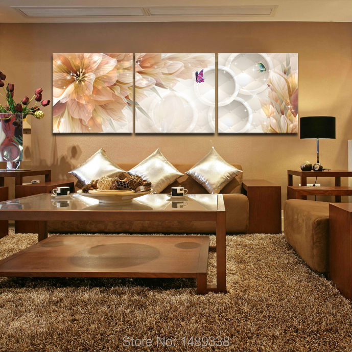 3 panel flower home decoration living room wall painting hd wall art picture on canvas prints - Room decoration pic ...