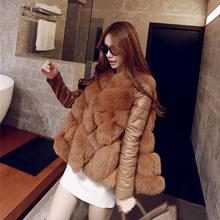2016 New Arrival Winter Warm Fashion Women Import Coat Fur Vest High-Grade Faux Fur Coat and lady's natural Fur Coat(China (Mainland))