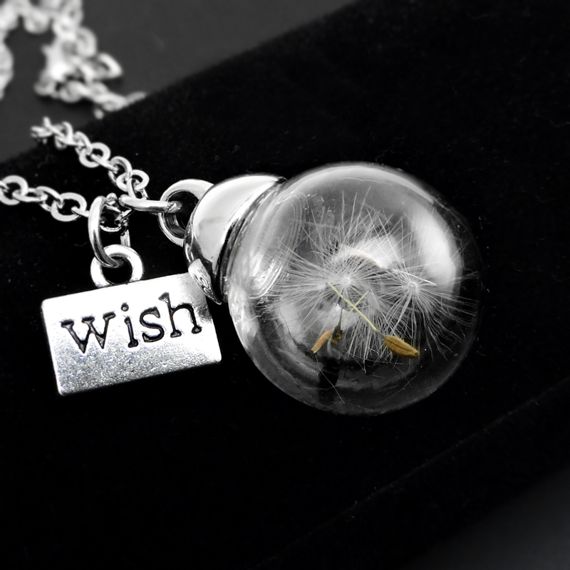Fashion White Dandelion Necklace Crystal Ball Dandelion Seed Pendant Necklace Glass Wish Dried Flowers Necklace Jewelry(China (Mainland))