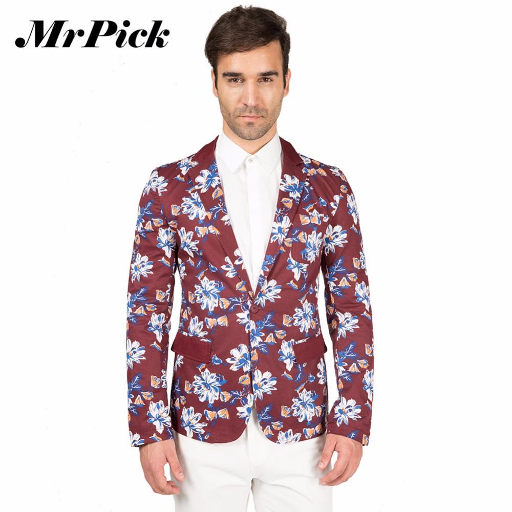 2016 мужчин пиджак тонкой пригонки одной кнопки с длинным рукавом печатных блейзер дизайн куртки бренда мода цветочные куртка Z3001
