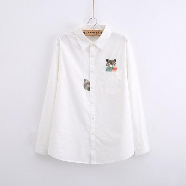 G022 весна и Осень винтаж твердые хлопок Белая блузка с длинным рукавом Симпатичные ...