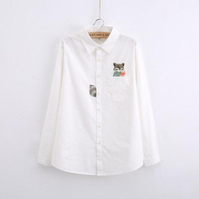 G022 sping and Autumn vintage solid cotton White blouse long sleeve Cute Fox Embroidery Women Shirts casual Tops Blusas(China (Mainland))