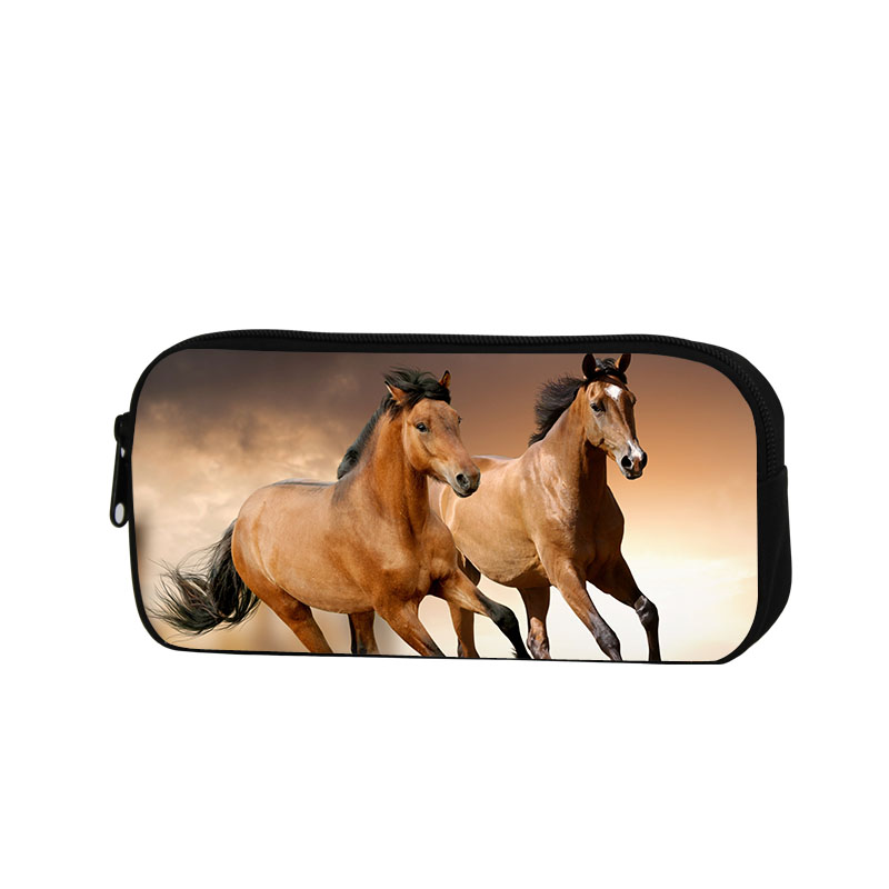 Horse Pencil Case for Children School Cosmetic Cases for Adults Fashion Pen Bag Animal Printed Zippered Pencil Set for office(China (Mainland))