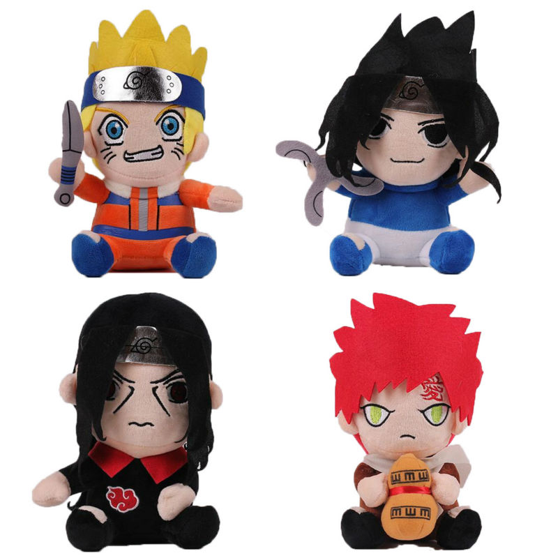 20CM Anime Naruto Plush Doll 4 Style Naruto Uzumaki Hatake Kakashi Gaara Uchiha Sasuke Plush Toy Classic Toys For Children(China (Mainland))