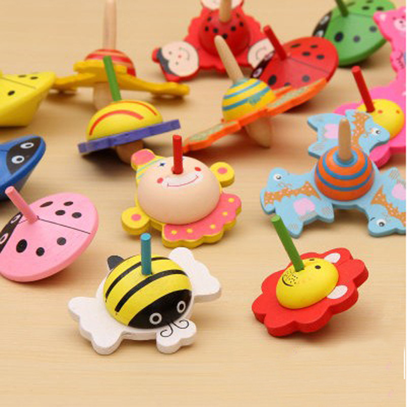 free shipping 20pcs/lot new design cartoon animal wooden spinning top children's toys ,baby best gift toy