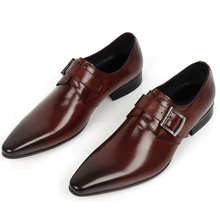 2016 New Spring 100% Real Genuine Leather Formal Brand Man Italian Oxford  Men's Business Dress Buckle Shoes GL036