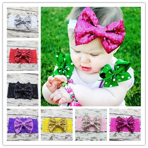 Big Sequin Bow Lace Headband Baby Girls Headwear Lace Bow Turban Headwrap Infant Top Knot Headband Hair accessories 10pcs/lot(China (Mainland))