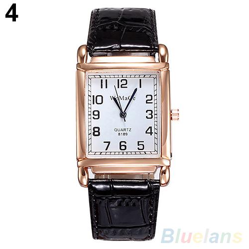 Hot Fashion Men Women Leather Band Square Dial Quartz Analog Wrist Watch 1MYV 4KHY