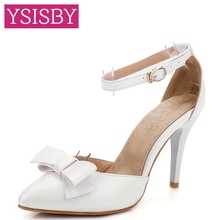 Bowtie Buckle High heel Pointed toe Lady Sandals Shoes woman Casual Party Beige White Green Silver Pink Large size 40 41 42 43 - YSISBY CO.,LIMITED store
