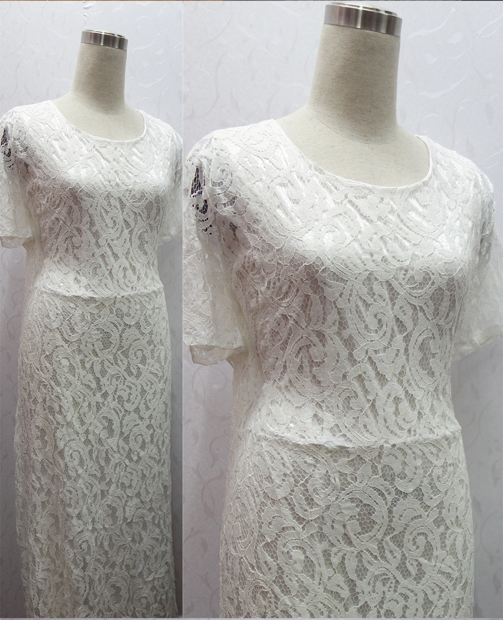 2016 large size big yards backless hollow out lace dress