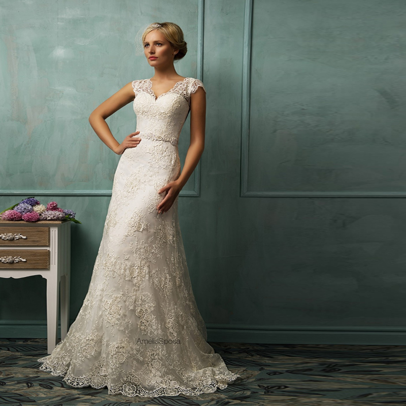 Vintage mermaid v neckline short sleeve wedding dresses for Short wedding dress with long train