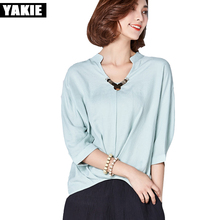 Buy Women Blouse shirt V Neck Ladies Elegant Tops Clothing Shirts Female Clothes Blouses cotton linen batwing sleeve loose blusas for $15.60 in AliExpress store