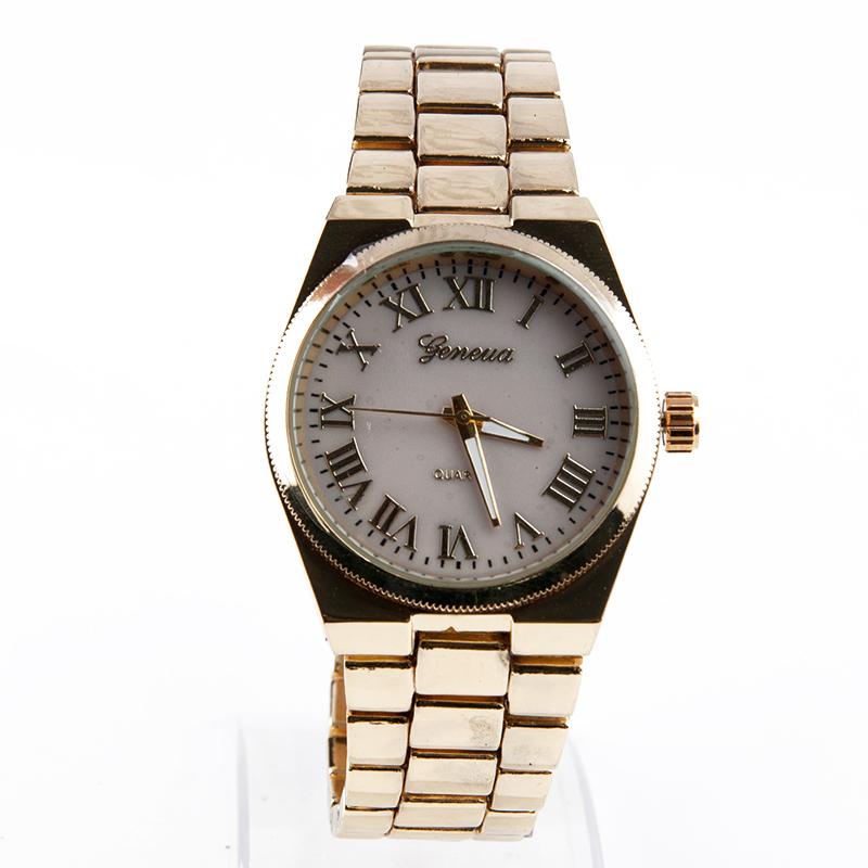 Полный стальные часы золотистый цвет часы дамы свободного покроя аналоговые