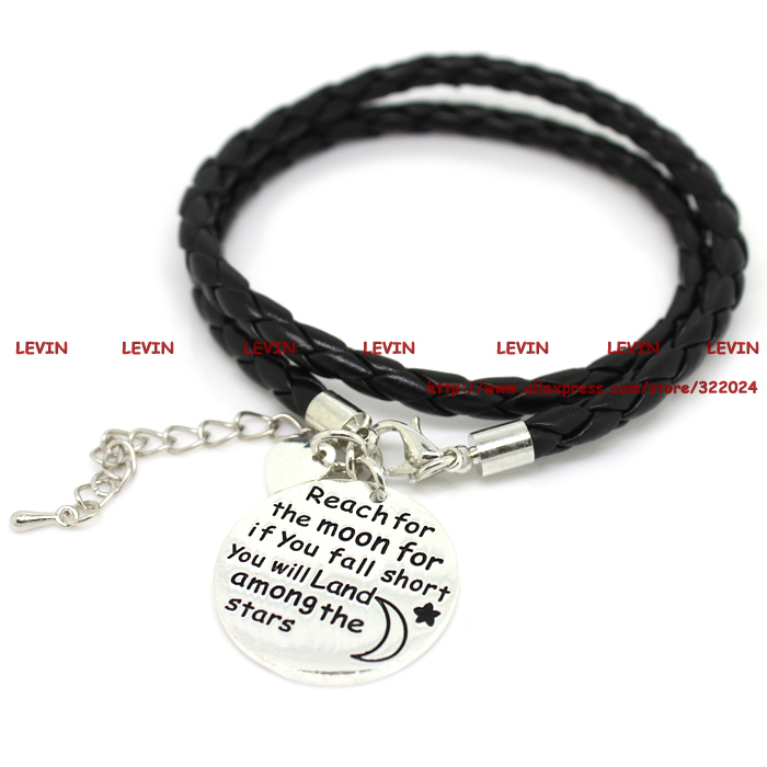 Fashion Reach for the moon for if you fall short you will land among the stars Rope Alloy Charm Bracelet Women Girls Gift #LB805(China (Mainland))