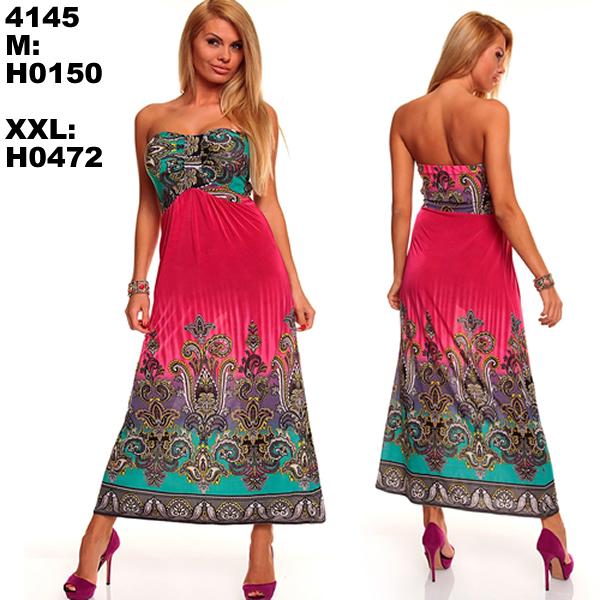 M XXL Plus Size 6 Colors 2015 New Fashion Women Sexy Strapless Printed Maxi Long Bohemian Beach Dress Summer Casual Dress 4145
